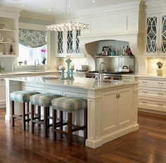 Love the hints of gentle blue in the kitchen