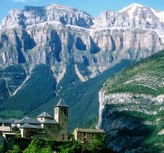 Villiage of Torla, Spain in the Pyrenees Mountains