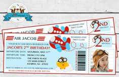 Airplane Birthday Party Photo Invitation by LilFacesPrintables, $14.95