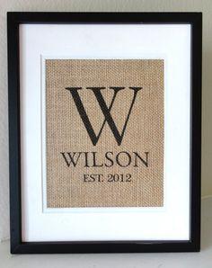 Monogram Burlap Art, Burlap Sign, Burlap Print, Wedding, Anniversary and Housewarming Gift
