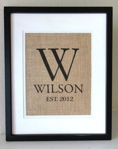 Inspiration  Monogram Burlap Art, Burlap Sign, Burlap Print, Wedding, Anniversary and Housewarming Gift