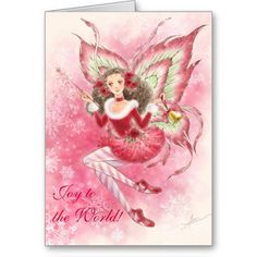 Pretty fantasy art - Christmas Fairy and snowflakes Greeting Card - Personalize it with your own words