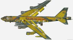 Coloured Cutaway drawing of strategic bomber Fighter Aircraft, Fighter Jets, Airplane Fighter, Air Fighter, Strategic Air Command, B 52 Stratofortress, Naval, Aircraft Design, Military Aircraft