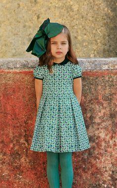 Green Little Girls Gathered Dress by Oscar de la Renta