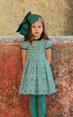 Green Little Girls Gathered Dress by Oscar de la Renta