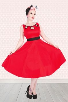 Hearts and Roses 50s Pinup Rockabilly Red Swing Dress 102 20 15186 20150124 pop