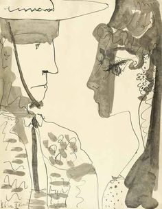 Pablo Picasso - Picador et femme, 8 June 1960. Pen and brush and India ink and wash on paper, 66 x 51 cm.
