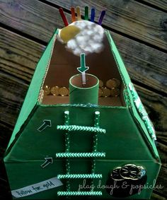 How To Make A Leprechaun Trap for kids with free printable Letter from a Leprechaun. St. Patrick's Day craft for kids. Recycled Material Craft.
