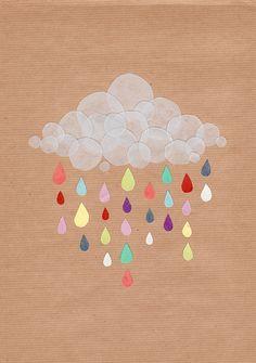 Rainbow rain from clouds. Illustration Art, Illustrations, Cool Art Projects, Winter Art Projects, Blog Deco, Art Plastique, Art Lessons, Bunt, Art For Kids