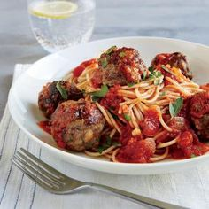 Spaghetti and Meatballs in a Tomato-Basil Sauce | MyRecipes.com #myplate