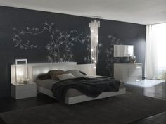 contemporary bedroom with relaxing lighting.