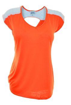 Jota Plus Womens Lace Back Top 2XL 3XL Cap Sleeve Shirt VNeck Orange Stretch