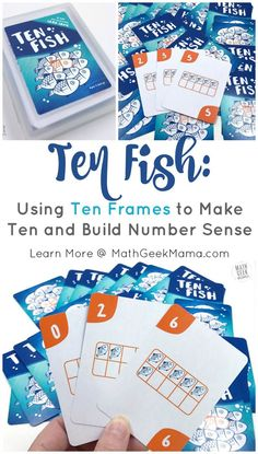 Looking for a fun and easy to learn math card game? The game 'Ten Fish,' a fun ten frames game, is easy to learn and suitable for your youngest learners, but can also challenge and engage older kids. Learn the benefits of playing with ten frames and how t Easy Math Games, Math Card Games, Card Games For Kids, Math Activities, Teaching Resources, Making Ten, Elementary Math, Kindergarten Math, Teaching Math