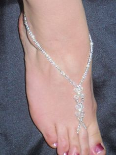 HAND MADE BRIDAL CRYSTAL BAREFOOT SANDAL BEACH JEWELLERY ANKLET FOOT THONG | eBay