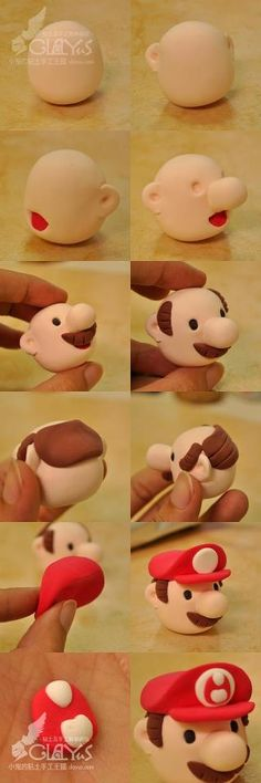 Mario step-by-step DIY. I love how he almost looks like Postman Pat until you put his cap on!