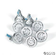 """Mini Chocolate Wedding Stickers are so easy! Just apply the wedding stickers to your own chocolate candy for a fun treat at your wedding reception or party. The labels read """"To Have and To Hold"""", """"Happily Ever After"""", """"Best Wishes"""", """"A Wonderful Day"""", """"Love Is Forever"""" and """"Congratulations"""". (88 stickers per sheet, 10 sheets per unit) 3/4"""" $6.00"""