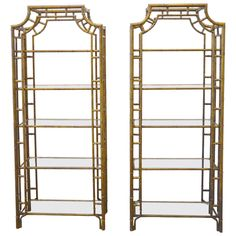 View this item and discover similar for sale at - Sculptural étagères with glass shelves and brass or bronze finish. Asian Design, Glass Shelves, Bronze Finish, Chinoiserie, Home Furniture, Bamboo, House Design, Display, Sculpture
