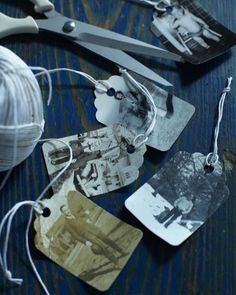gift tags from photocopies of old family photos!