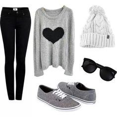 Black skinny jeans, gray with black heart sweater, gray vans, white beanie, black hipster sunglasses