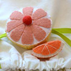 Felt Food Grapefruit Half and Orange Slice Children's Play Food. $15.00, via Etsy.