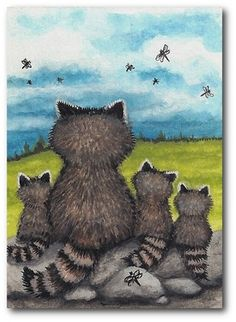 Curious Critters Raccoon Dragonflies Dragonfly Dance Art by BiHrLe Le Print ACEO | eBay