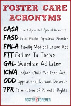 I get so confused with all the acronyms used with #fostercare. Great list here!