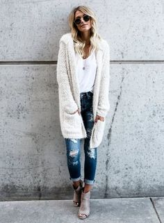 the white color sweater is featuring hooded style, long sleeve, open front, long sleeve, solid color, loose fit.