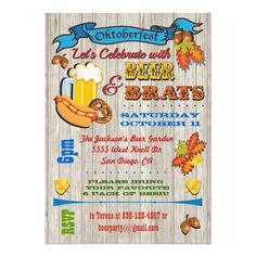 Rustic Beer, Brats Octoberfest Party Invites