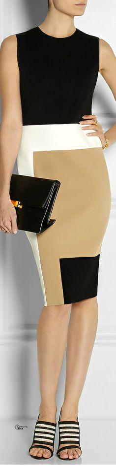 Reed Krakoff ● Black Colorblock Dress. #vestido #tubinho #cor #colorblock #preto #bege #branco #bolsa