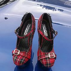 Women's Penthouse Shoes by Ellie Red plaid with three buckle accent, six inch heels.  New, never worn. Ellie  Shoes Heels