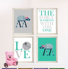 Baby Girl Star Wars Nursery Art Girl Room by StarWarsPrintShop, $32.00