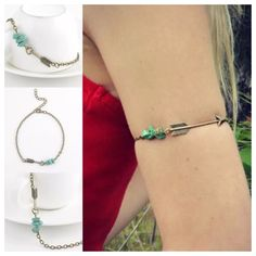 """Upper Arm Chain/Bracelet Arrow & Turquoise Beads NWOT, Boho Trendy Bronze Alloy with Arrow & Turquoise Beads upper arm Chain! Also fits perfectly as an Ankle Bracelet! Length is 10.5"""" with 2"""" adjustable extender, Lobster clasp closure! Please ask any questions! Price firm unless Bundled! ❌Trades ❌PP Jewelry"""