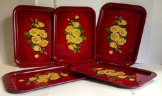 Mid Century Metal Tray - ONE LEFT - Vintage Yellow Rose Design  on Etsy, $12.00