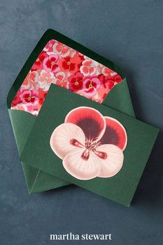 Send snail mail with a delight inside: Cut a piece of paper so it's sized to line an envelope, from base to tip. Then trim the top flap by inch so the adhesive strip shows. Slide the liner in, lift it up to brush glue onto the envelope, and lay it in place. Stick a coordinating cutout on the note for a dapper delivery. #marthastewart #christmas #diychristmas #diy #diycrafts #crafts