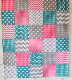 Baby Girl Blanket, Minky Blanket, Crib Blanket, Nautical Nursery Decor, Baby Shower Gift, Pink, Teal and Gray, Chevron, Dots, Anchors