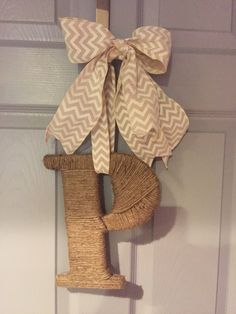 Jute covered wooden letter P with Chevron ribbon. Such an easy project.