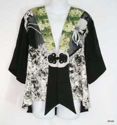 SPENCER ALEXIS L Green Black White Floral Asian Sheer Lace Kimono Jacket Blouse #SpencerAlexis #Blouse