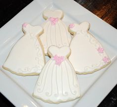 White Wedding Dress Favor Cookies - One Dozen Decorated Sugar Cookies