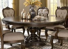 With styling that exemplifies traditional design, the Bonaventure Park Dining Room Collection by Homelegance exudes sophistication and refined elegance. Egg and dart moldings, acanthus leaf motif lend to the traditional look of all pieces. Round Dinning Room Table, Tuscan Dining Rooms, Dining Table With Leaf, Round Pedestal Dining Table, Elegant Dining Room, Extendable Dining Table, Dining Room Design, Dining Room Furniture, Dining Set