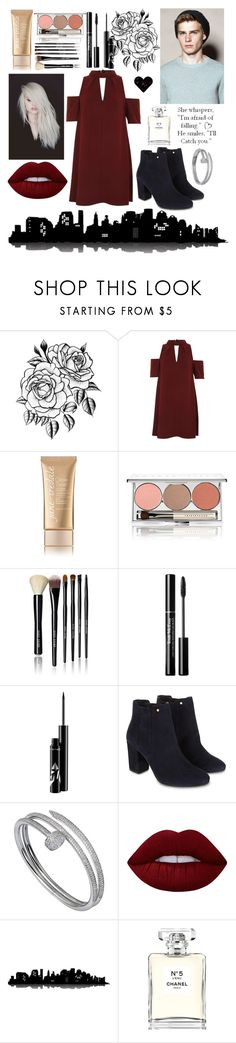 """""""Night in the City"""" by slytherin-for-life ❤ liked on Polyvore featuring Topshop, Jane Iredale, Chantecaille, Bobbi Brown Cosmetics, Monsoon, Cartier, Lime Crime, Love Quotes Scarves, Universal Lighting and Decor and Chanel"""