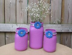 Wedding Mason Jar / Wedding Candle Holder by CarolesWeddingWhimsy, $29.99, set of 3, Radiant Orchid Mason Jar Centerpiece or Sweet Heart Table Decor....Pantone's Color of the Year for 2014.  These 3 Mason Jars make a lovely wedding centerpiece or  or any celebration.  This is a Vase and Candle Holder Set. This set is also royal blue, silver and bling.  Perfect for Home Decor and Baby Girl Nursery.  Check them out at…