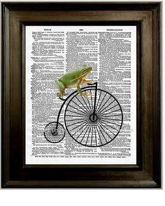 """Frog on High Wheel Bike Art Print 8 x 10 Dictionary Page"""