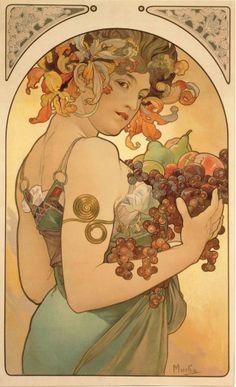 Alphonse Mucha (1860-1939). Fruit. 1897. Colour lithograph. Mucha Museum - Prague - Czech Republic
