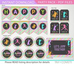 jump party pack, trampoline party package, jump birthday party pack, jump birthday decoration, favor tags, welcome sign, cupcake toppers by TinyConfetti