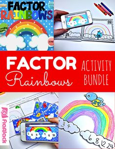 Factor Rainbows Activity Bundle - Looking for a fun way to practice factors? This bundle helps students practice making factor rainbows through a PowerPoint, craftivity, QR code task cards, and a self-checking mini book.