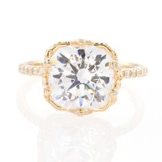 """Ellen"" Gorgeous & Engaged round-cut diamond yellow gold engagement ring, $7,500, Erica Courtney"