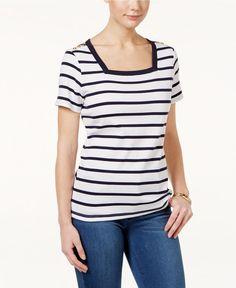 Karen Scott  2XL Cotton Button-Detail Striped Top XXL NEW Short Sleeve #KarenScott #KnitTop
