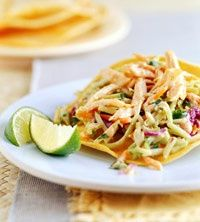 This is a Healthy Weight Watchers 6 Points Plus recipe for Chicken and Slaw Tostadas!