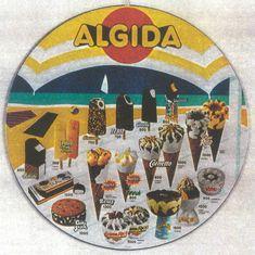 I gelati Algida: Bikini, Croccante, Cremino, Cookie Snack, il Cornetto in due taglie diverse, la Coppa Rica... Era la mia marca di gelati preferita! :-9