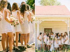 Off-white lace bridesmaid dresses